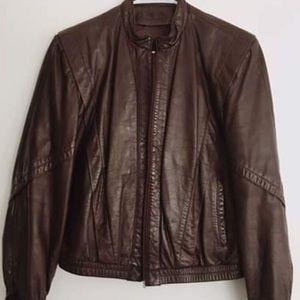Vintage brown/mahogany leather bomber jacket